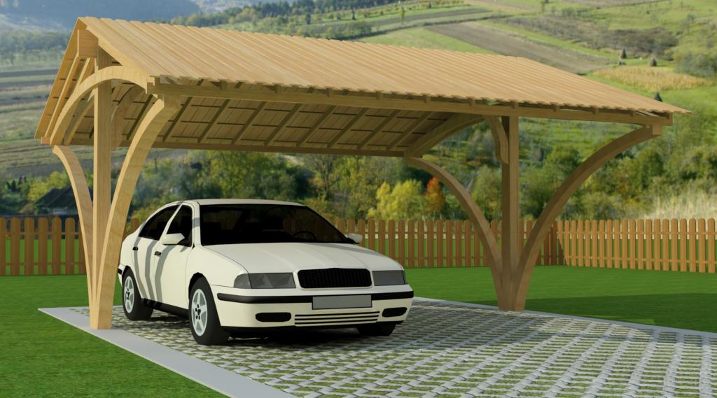 Carport bois double livr gratuitement mod le haut de seine - Plan de carport en bois ...