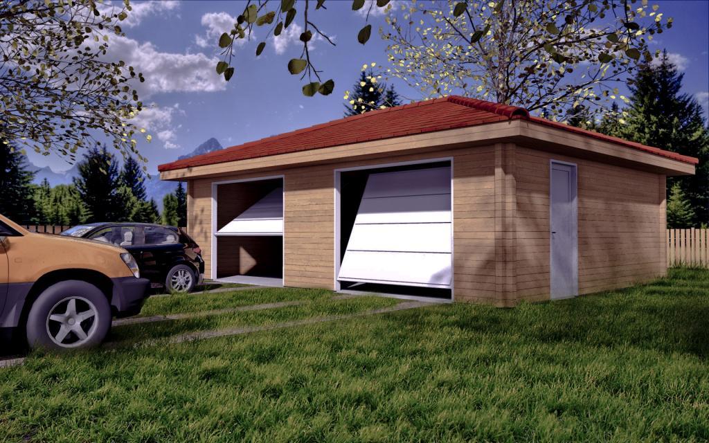 Garage bois 2 voitures livr gratuitement en kit mod le 42m for Construction garage bois