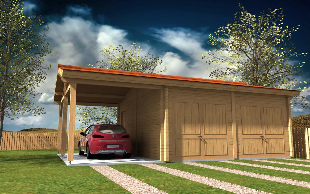 Kit garage madriers bois avec carport mod le rh ne 36 m Garage carports