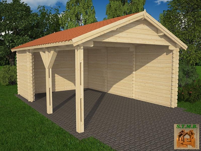 abri voiture en bois 22 m vendu en kit madriers de 44 mm. Black Bedroom Furniture Sets. Home Design Ideas