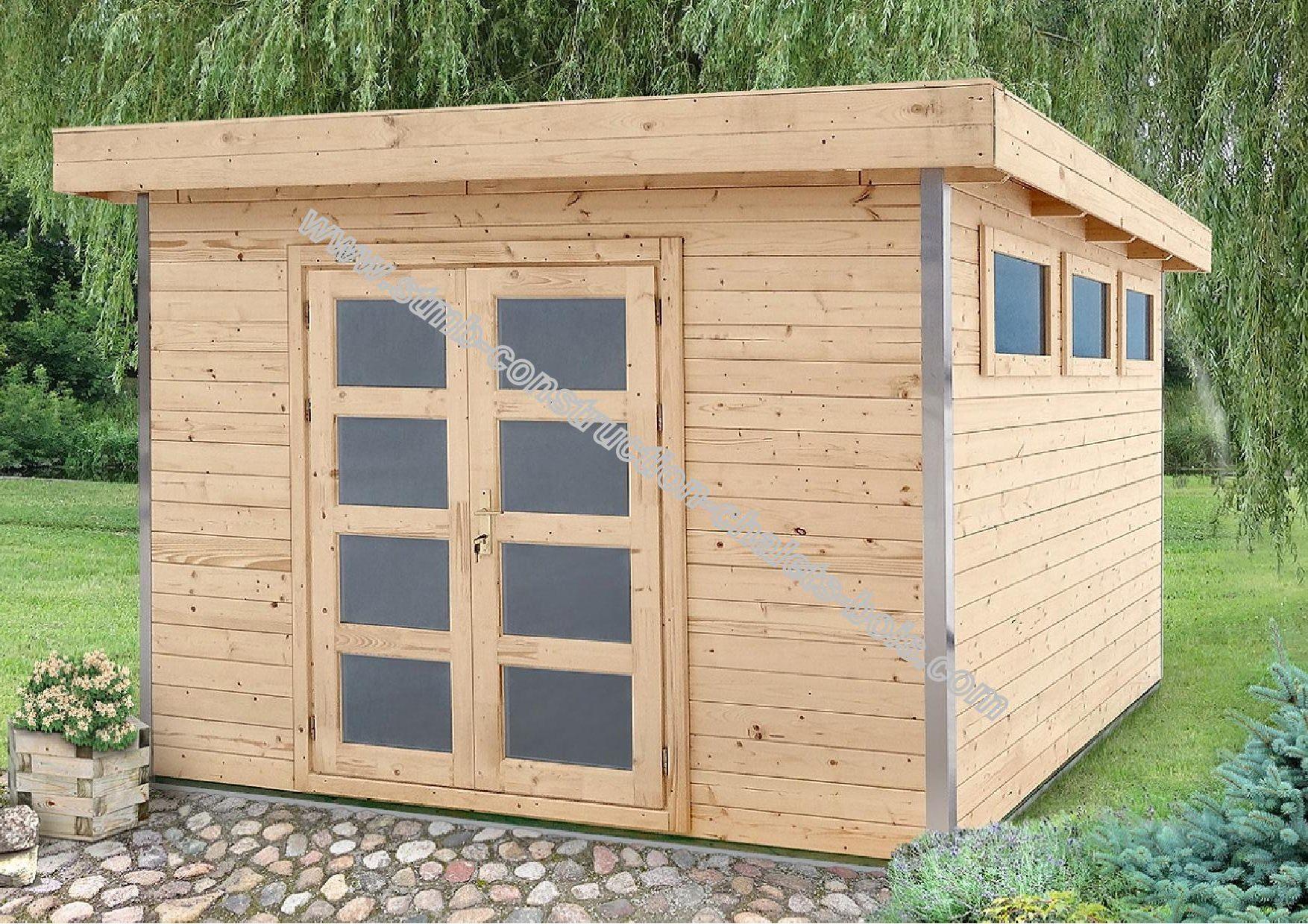 abri de jardin toit plat avec profil d 39 angle en aluminium. Black Bedroom Furniture Sets. Home Design Ideas