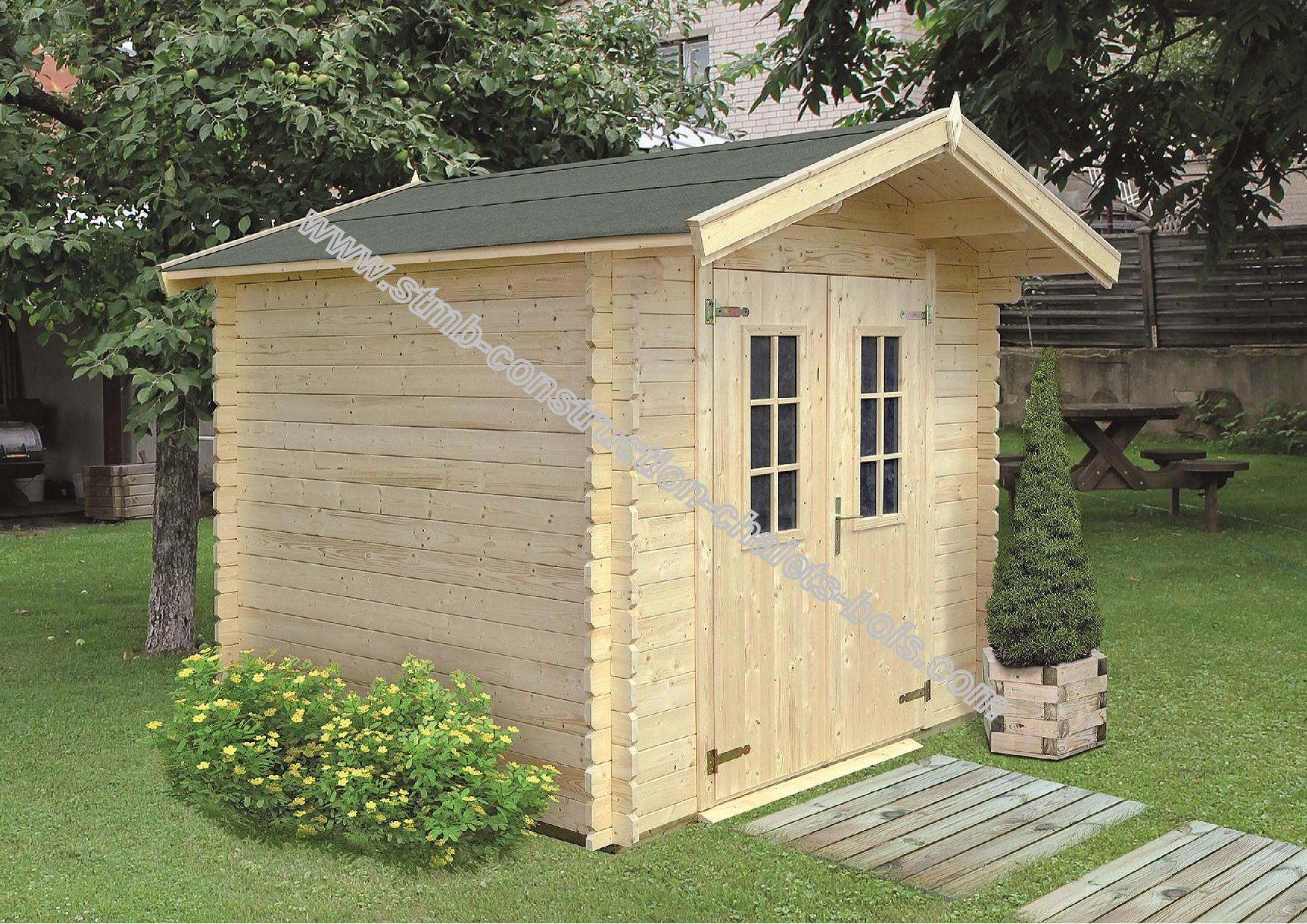 Kit abri de jardin en madriers de 28 mm livr gratuitement for Petit chalet en bois de jardin