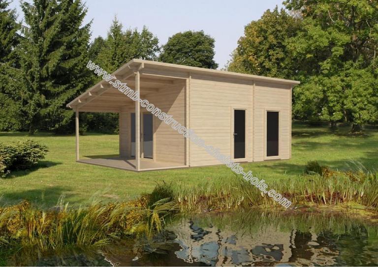 Chalet ou bureau de jardin en bois lille 19 en madriers 68 mm - Abris de jardin loi lille ...