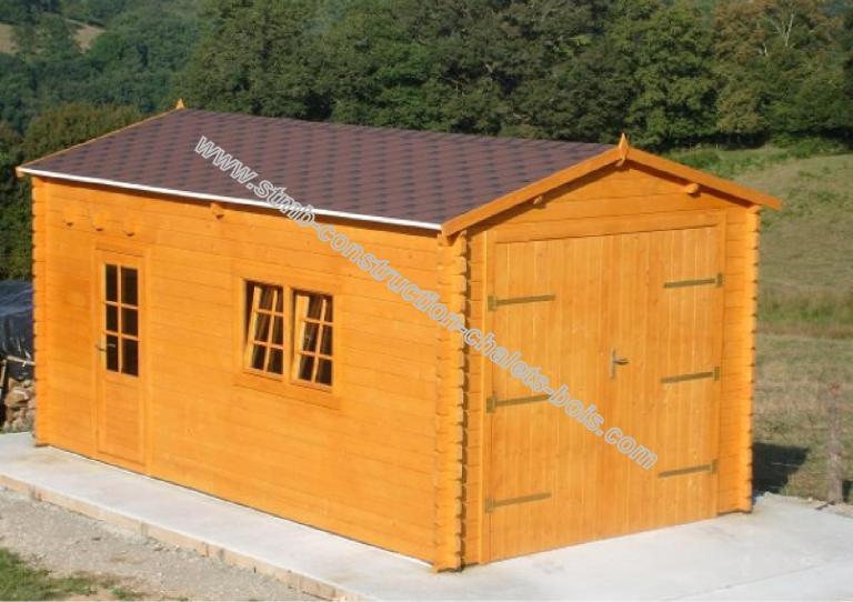 Garage en bois en kit garage en bois toit plat for Prix extension garage