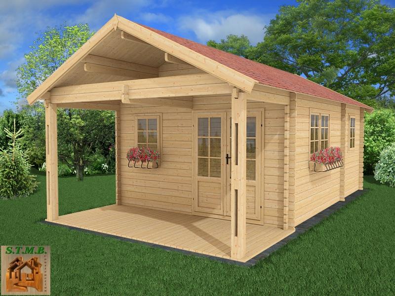 Chalet en bois en kit avec terrasse couverte mod le frene 30 m2 - Chalet en kit habitable ...