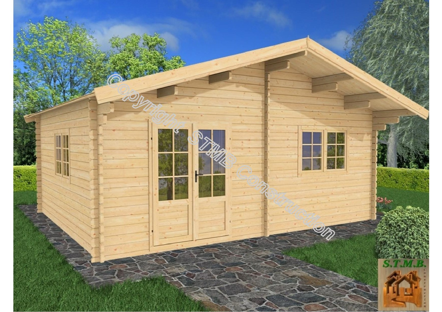 Chalet en bois en kit mod le genevier 30 m2 direct usine for Modele de chalet en bois