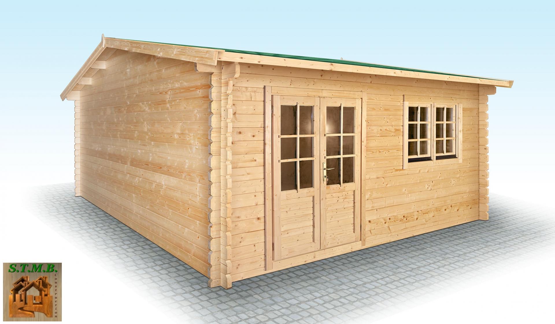 chalet en bois en kit mod le hiba 25 m2 en madriers de 44 mm. Black Bedroom Furniture Sets. Home Design Ideas