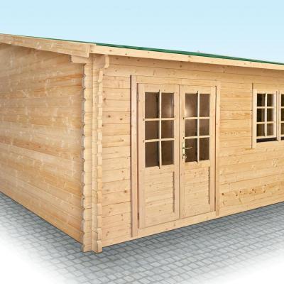chalet en bois en kit avec terrasse couverte mod le frene 30 m2. Black Bedroom Furniture Sets. Home Design Ideas