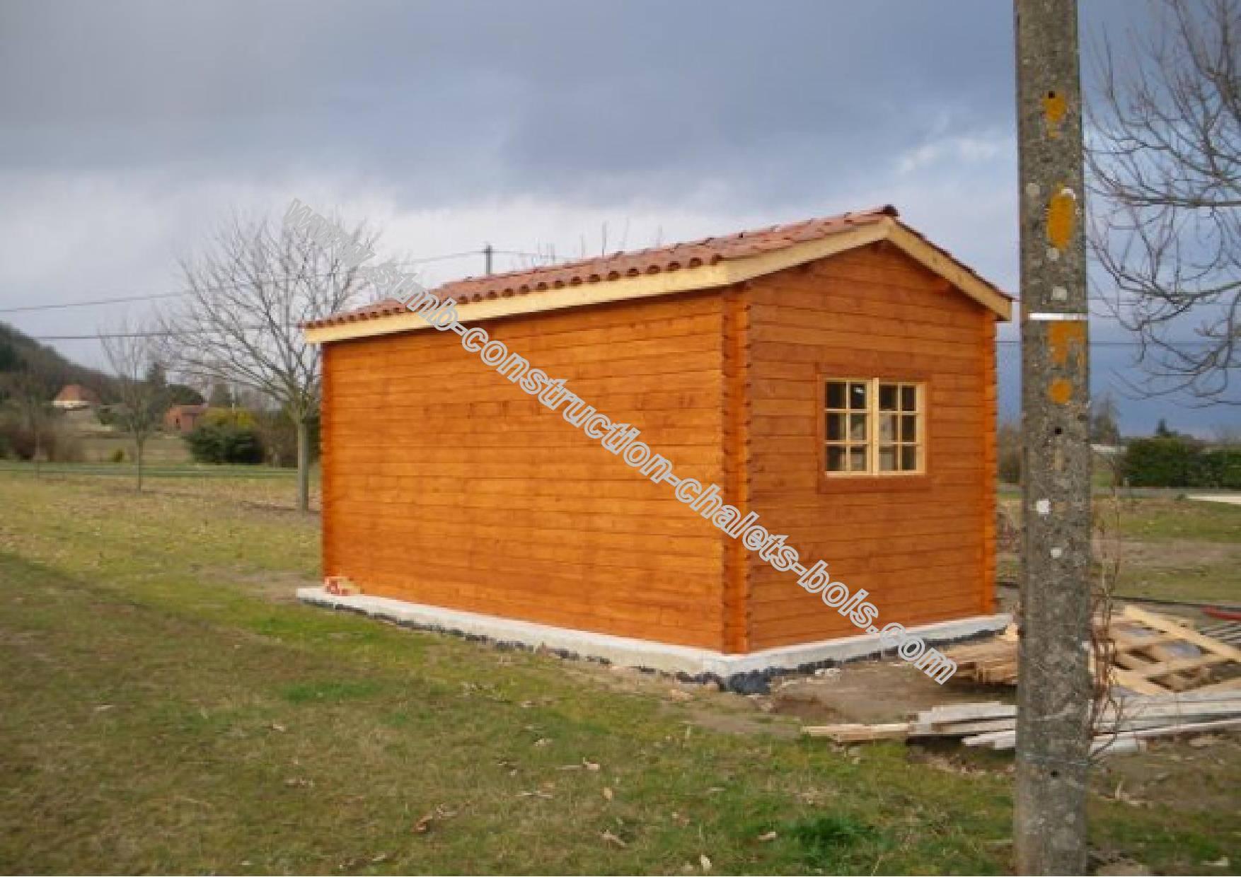 kit garage bois 22 m au sol en madriers embo t s de 44 mm. Black Bedroom Furniture Sets. Home Design Ideas