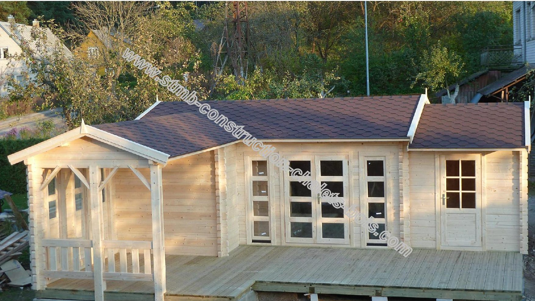Kit chalet bois habitable CHENE 30 50 m u00b2 habitable + Terrasse # Constructeur Chalet Bois Habitable