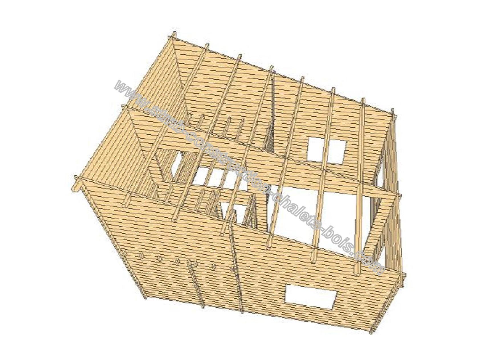 Chalet bois en kit albertville 36 m mezzanine 15 m for Abri de jardin 20m2 habitable avec mezzanine