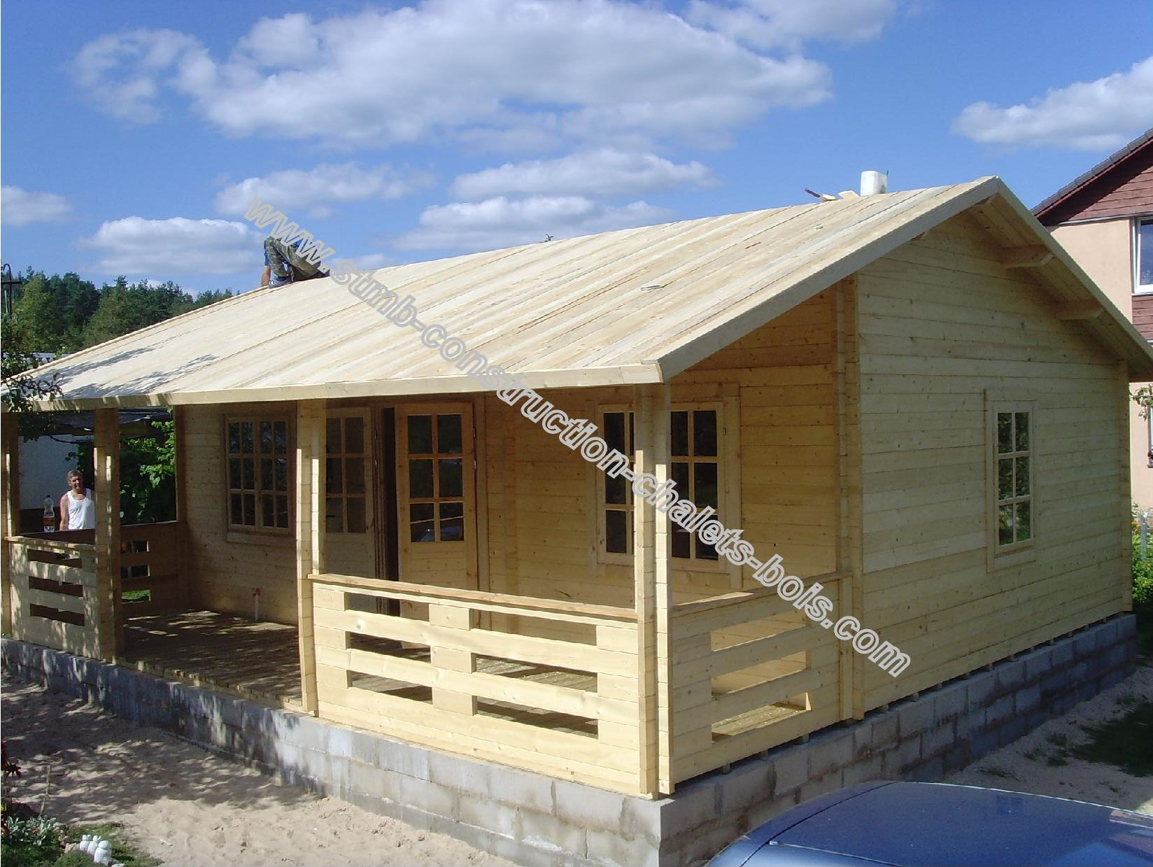 Chalet bois en kit rennes 56 m2 avec terrasse couverte - Prix construction chalet ...