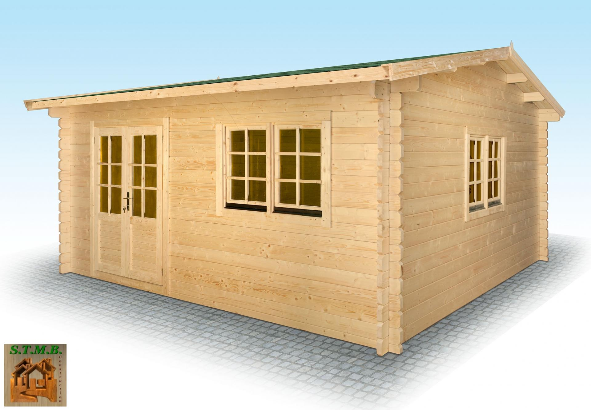 Chalet en bois en kit mod le hiba 25 m2 en madriers de 44 mm for Construction bois 22