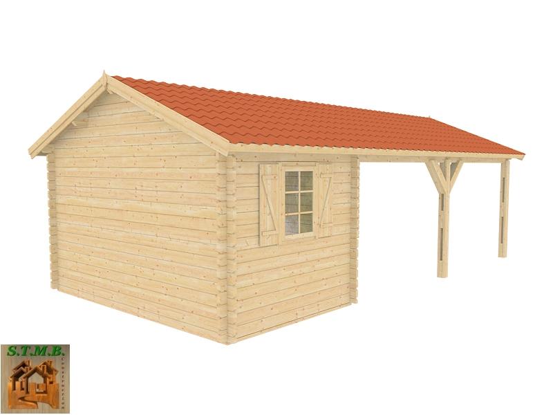 Un abri voiture avec atelier en madriers 44 mm vendu en kit for Construction bois 44