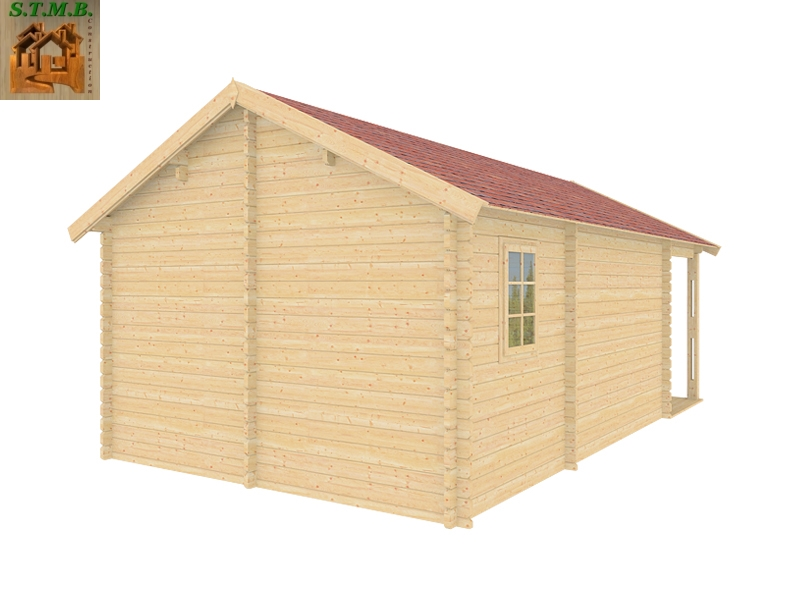 Chalet en bois en kit avec terrasse couverte mod le frene for Construction bois 44