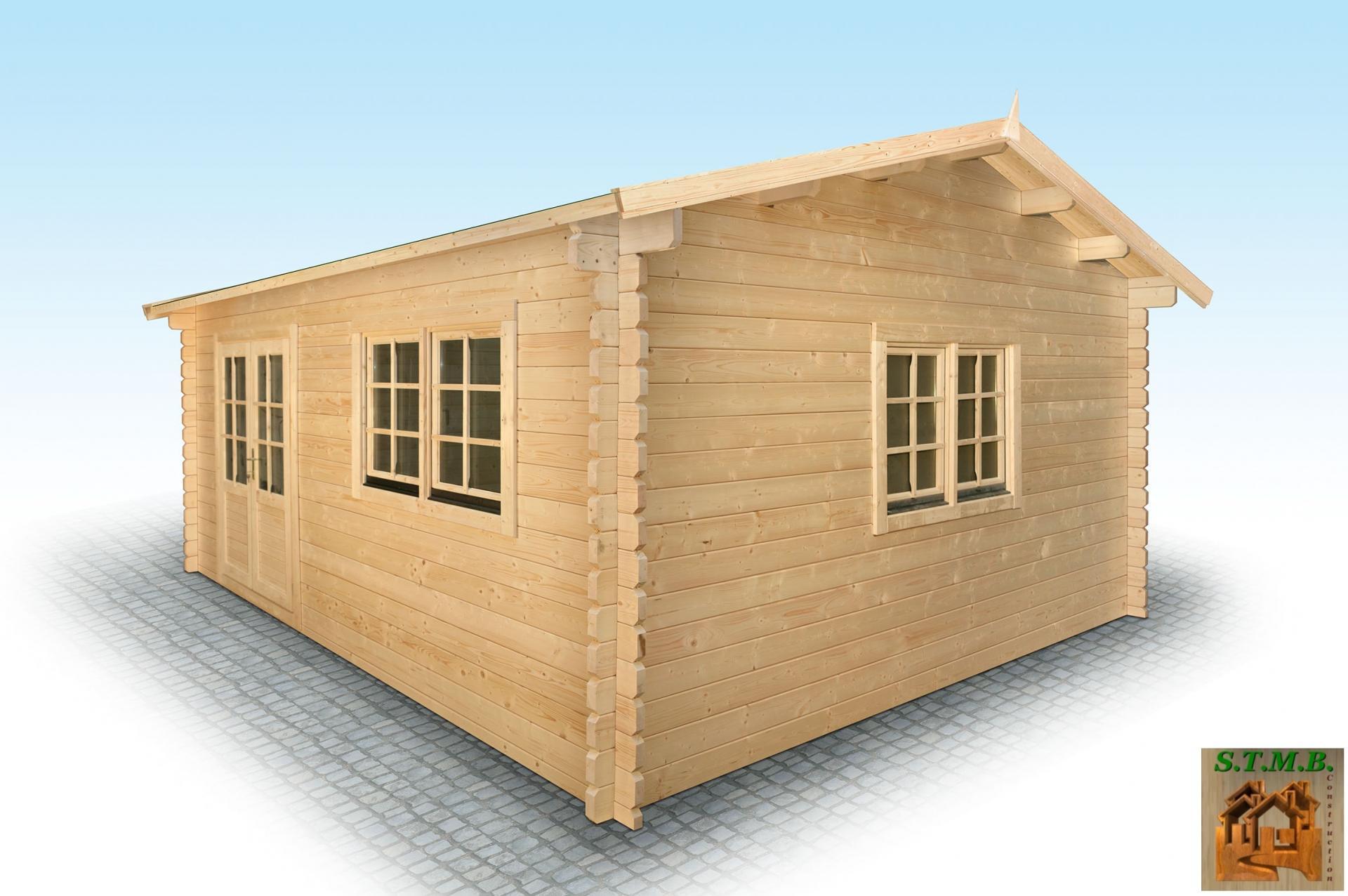 Constructeur Chalet Bois Habitable - Chalet en bois en kit mod u00e8le Hiba 25 m2 en madriers de 44 mm