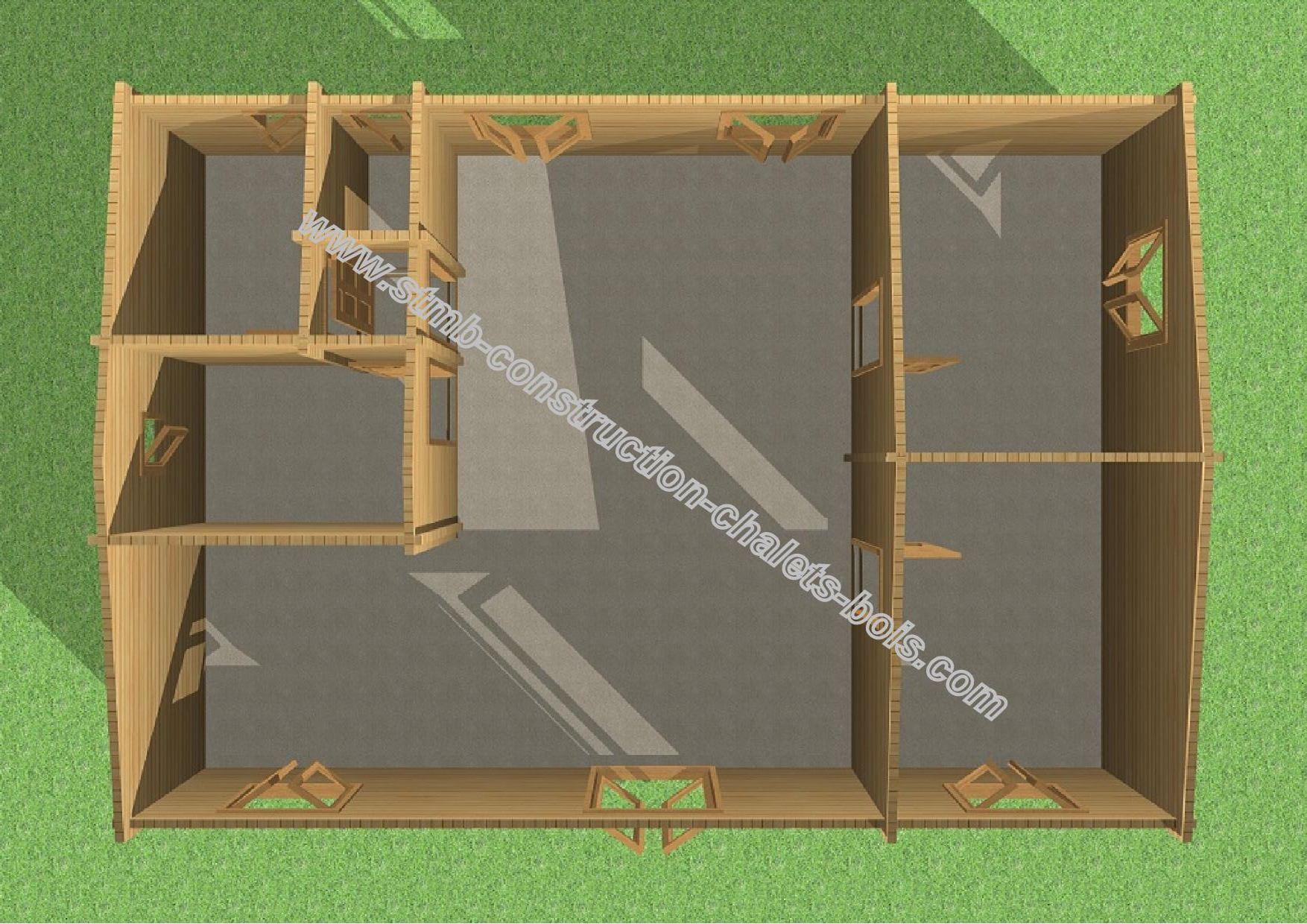 chalet bois habitable vendu en kit valence de 92 m2. Black Bedroom Furniture Sets. Home Design Ideas