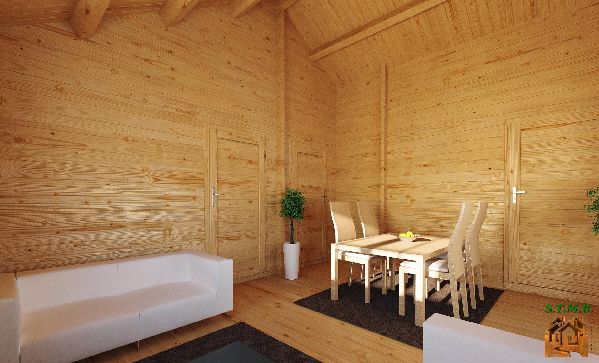 Chalet en kit haut de gamme HARFLEUR avec terrasse couverte # Constructeur Chalet Bois Habitable