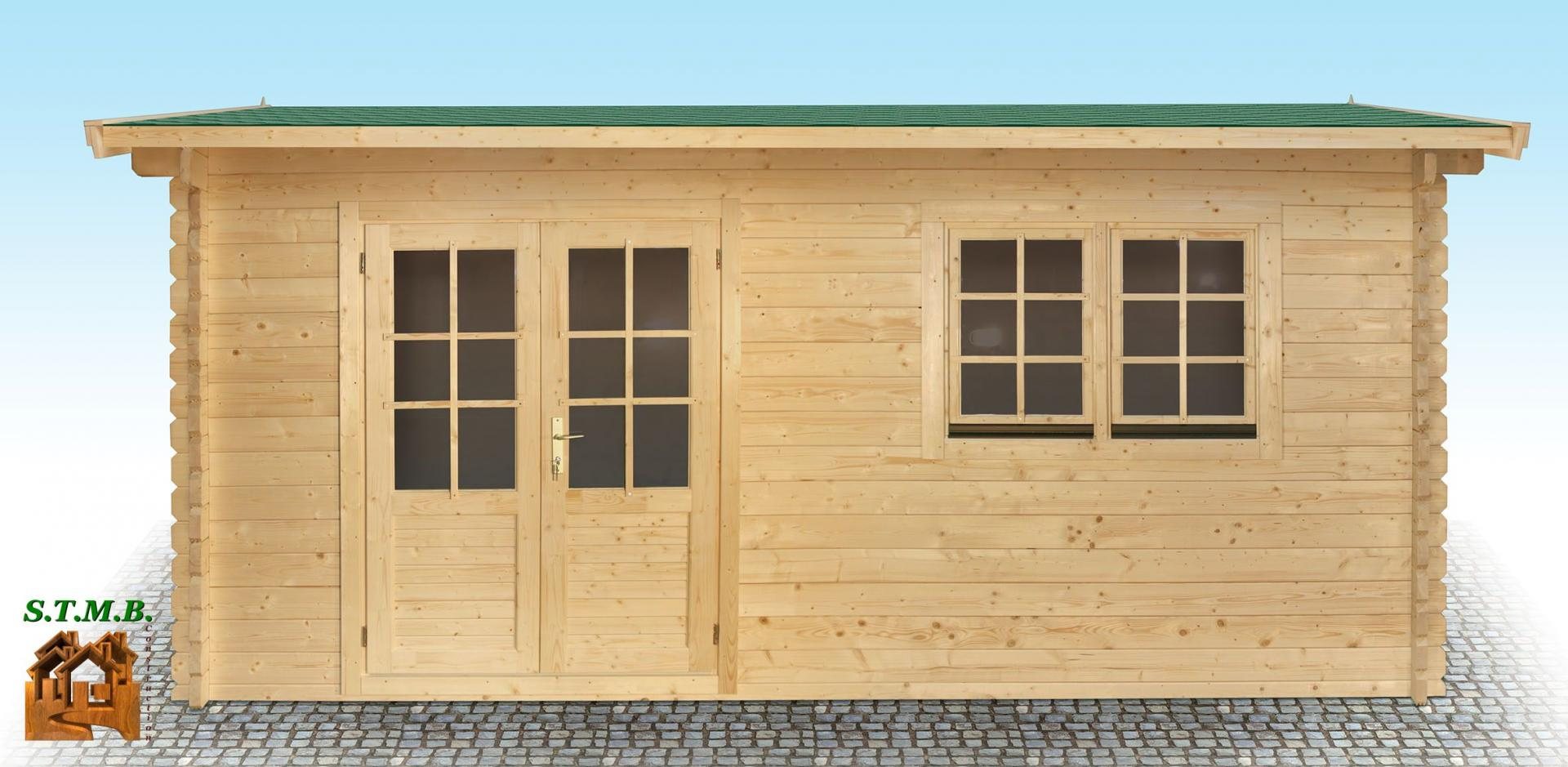 Chalet en bois en kit mod le hiba 25 m2 en madriers de 44 mm for Construction bois 25