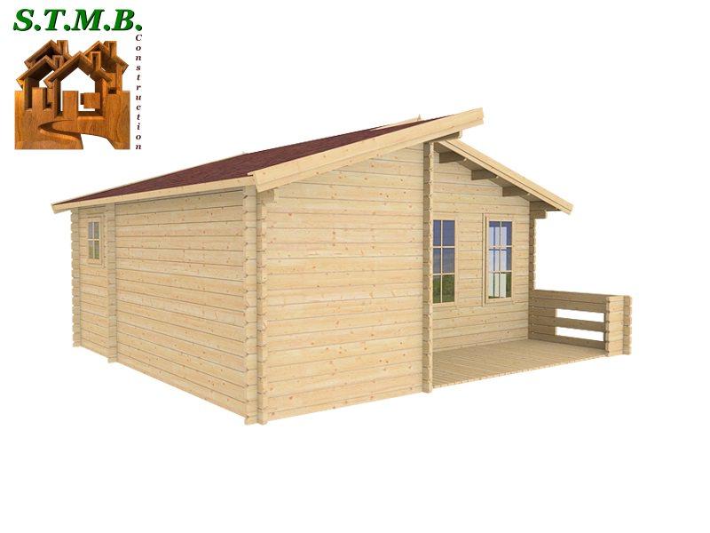 chalet 33 m2 en bois habitable de loisirs en kit avec terrasse. Black Bedroom Furniture Sets. Home Design Ideas