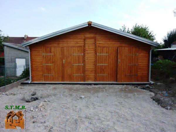 garage en bois 2 voitures stmb construction chalets. Black Bedroom Furniture Sets. Home Design Ideas