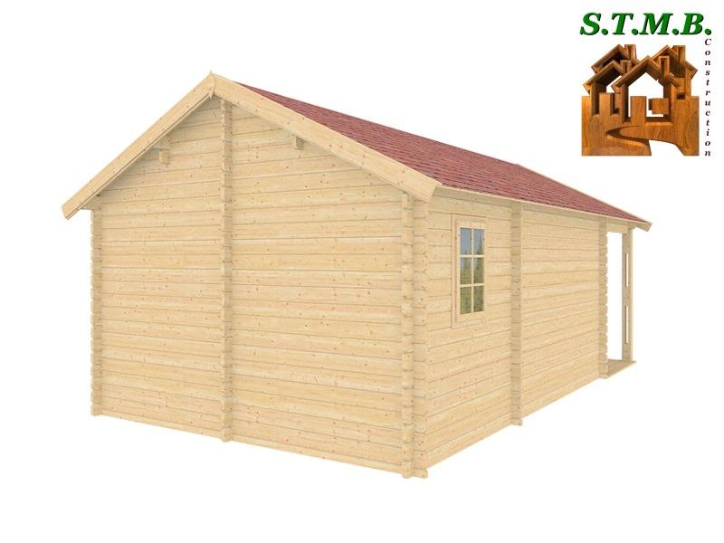 chalet en bois en kit avec terrasse couverte mod le fr ne 30 m2. Black Bedroom Furniture Sets. Home Design Ideas