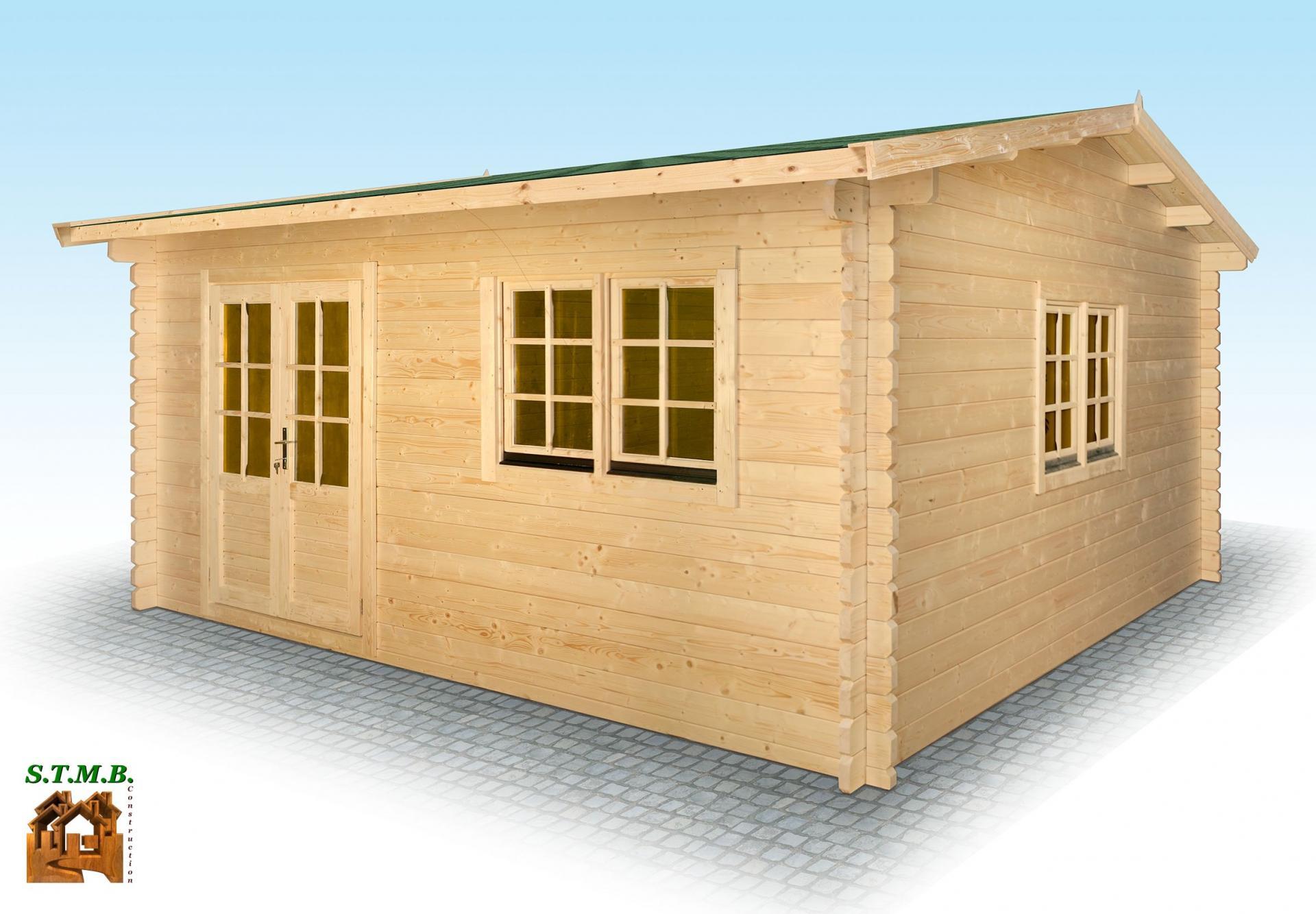 Chalet en bois en kit mod u00e8le Hiba 25 m2 en madriers de 44 mm # Constructeur Chalet Bois Habitable