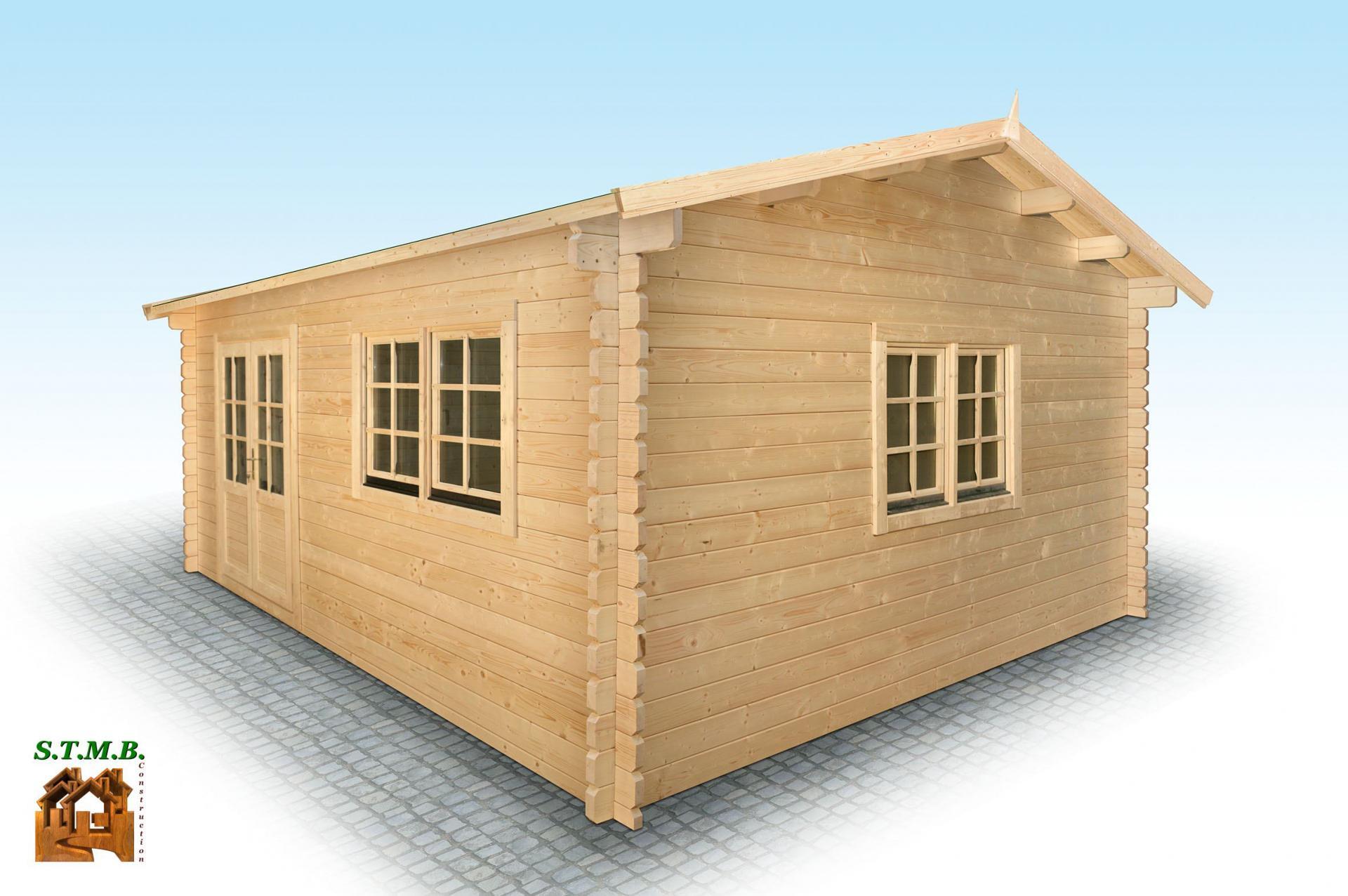 Chalet en bois en kit mod le hiba 25 m2 en madriers de 44 mm for Construction chalet bois 05