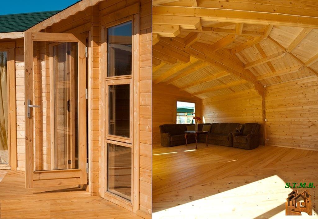 Chalet en bois mod le volvic 48 m avec terrasse de 18 m for Construction chalet bois 50m2