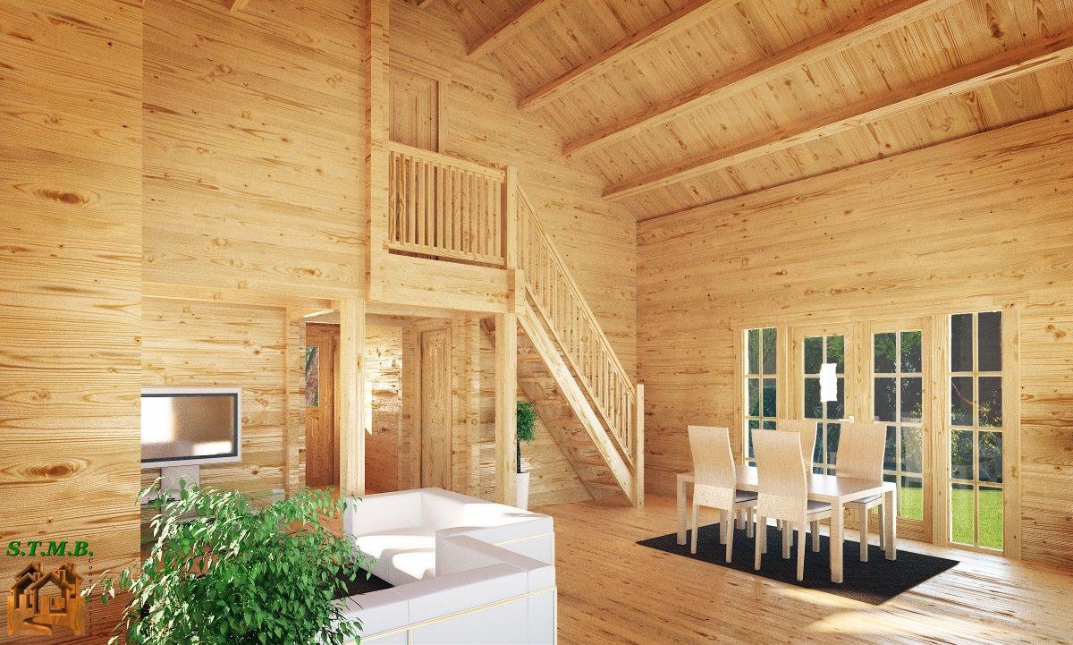 Chalet habitable de prestige avec mezzanine de 68 m en kit for Construction bois 68