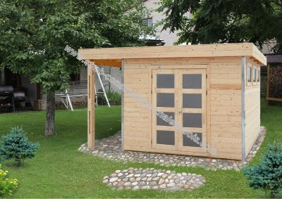 Abri de jardin toit plat en bois stmb - Abri de jardin toit plat tek ...
