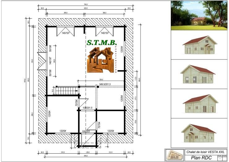 chalet habitable de prestige avec mezzanine de 68 m en kit. Black Bedroom Furniture Sets. Home Design Ideas