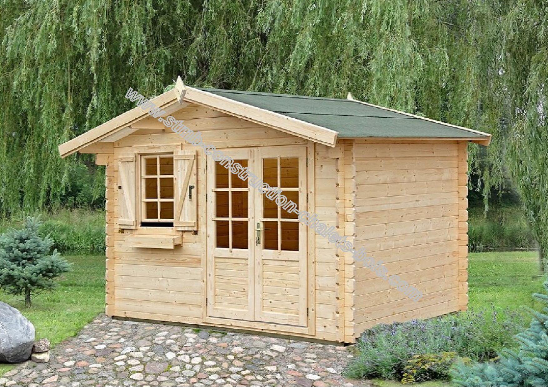 Kit chalet de jardin en bois madriers 28 mm mod le cedre for Porte de chalet de jardin