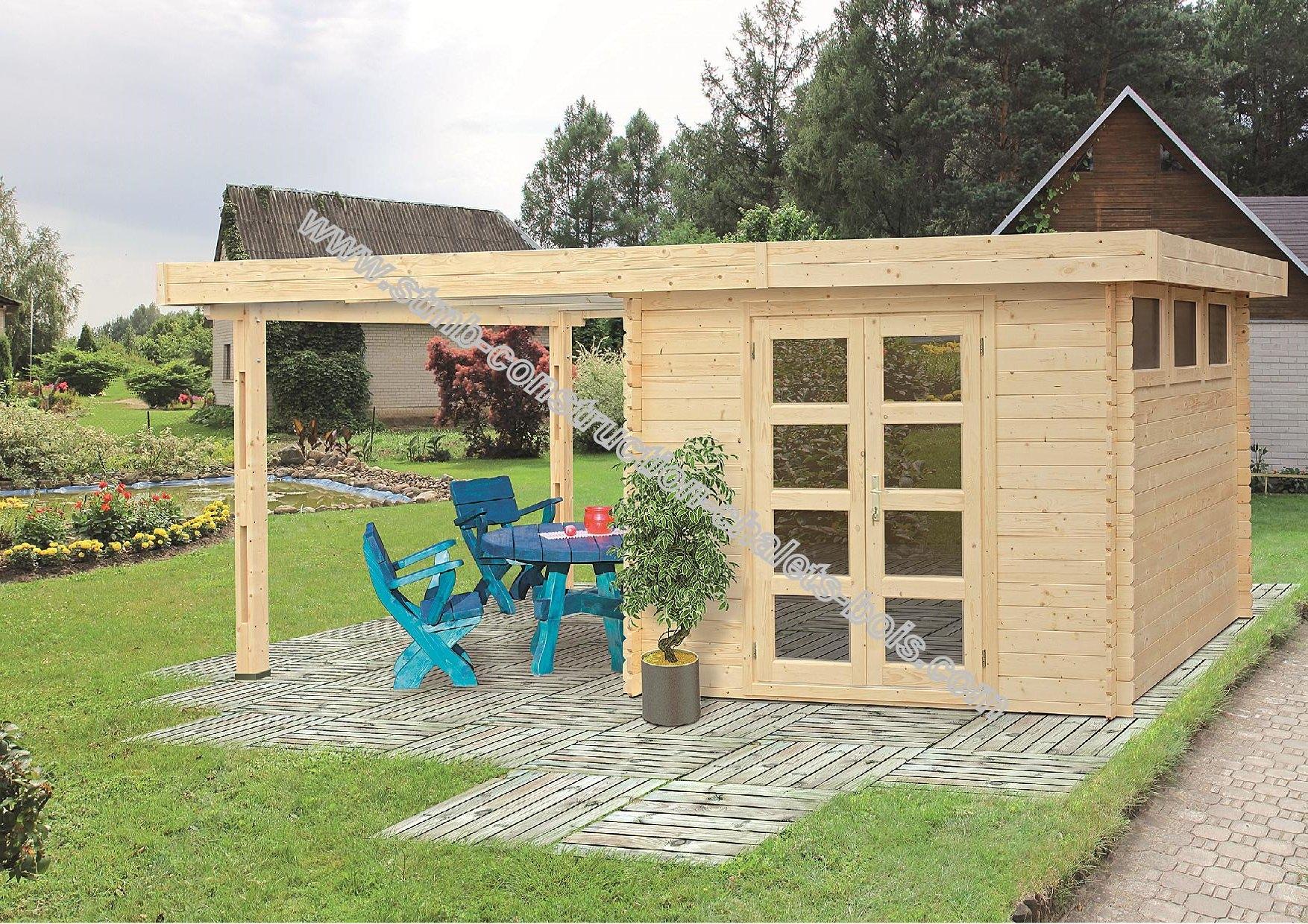 Chalet de jardin toit plat avec abri en madriers de 28 mm for Bureau de jardin en bois