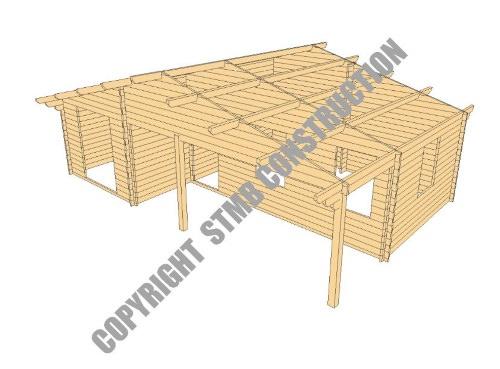 Maison en bois en kit ROANNE de 43 m² avec terrasse couverte