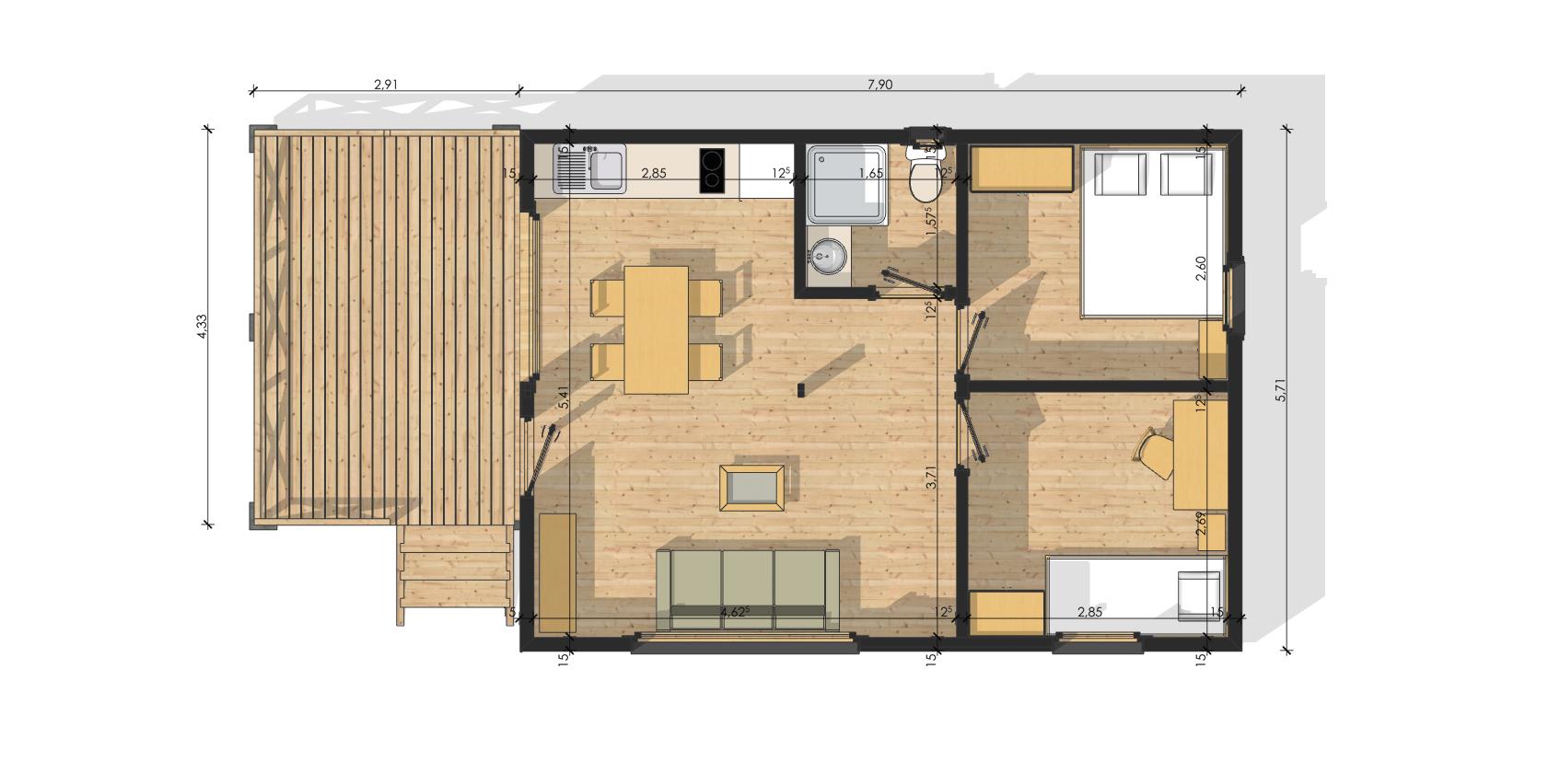 #976E34 Habitat Modulaire En Bois MODULOB 40b De 40 M²   Terrasses 3057 plan suite parentale 20m2 1694x852 px @ aertt.com