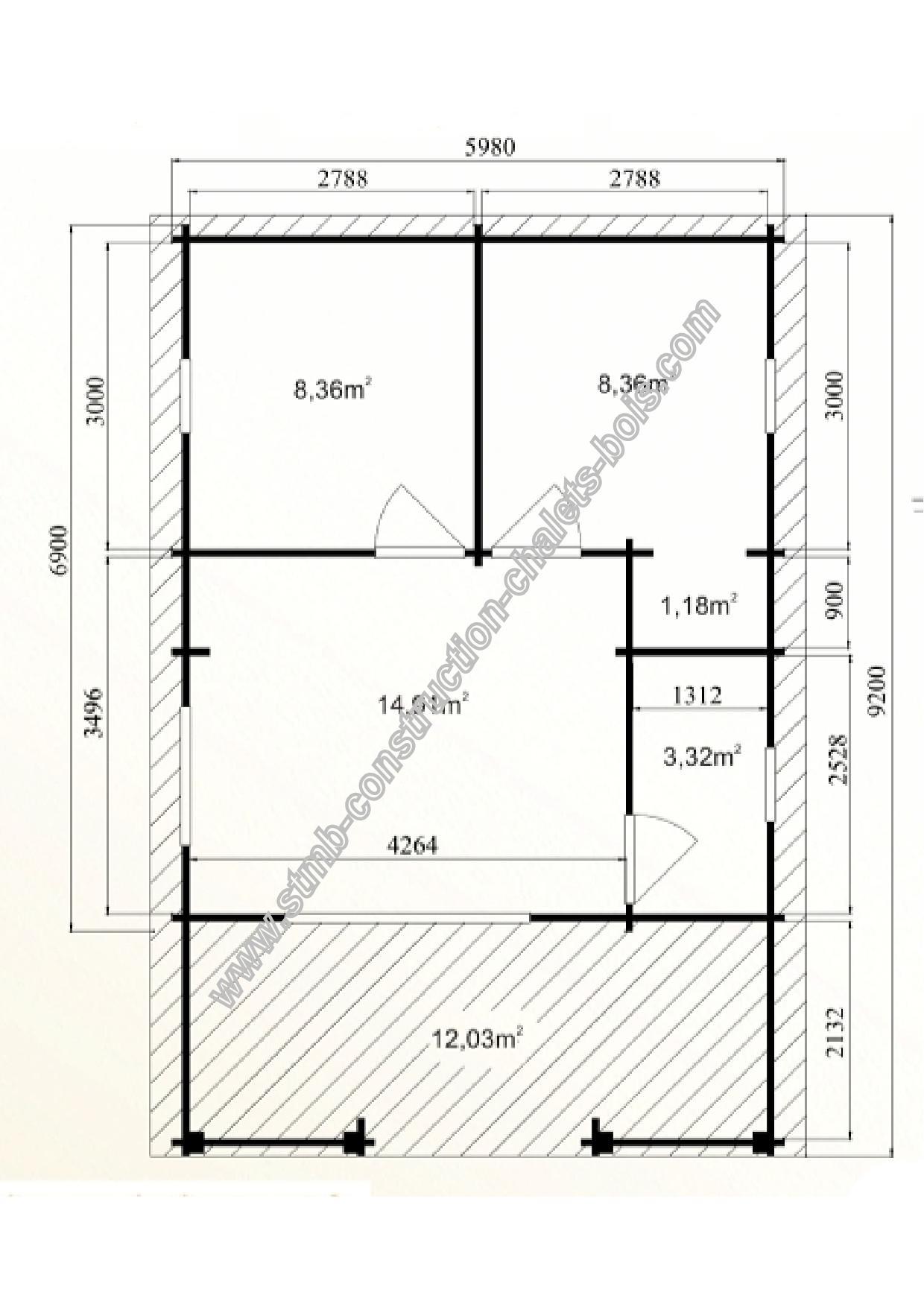 Chalet en kit mod le cognac 48 m avec terrasse couverte for Construction chalet bois 50m2