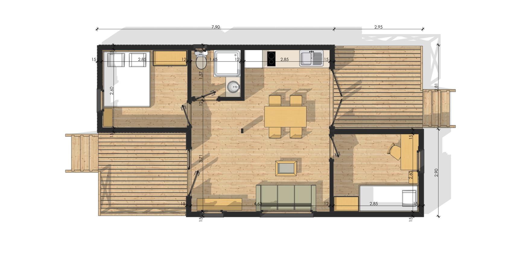 Modulob 40a habitat modulaires en bois de 40 m avec terrasses for Salle de bain habitat