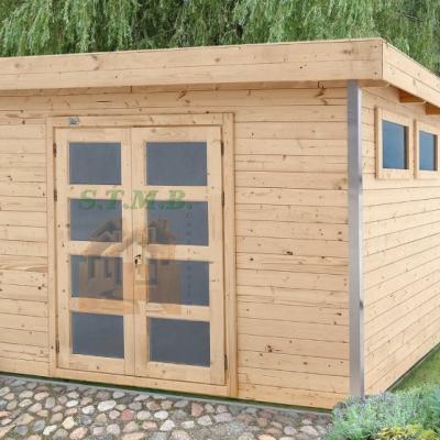 Abri de jardin toit plat en bois stmb for Cabanon en bois toit plat