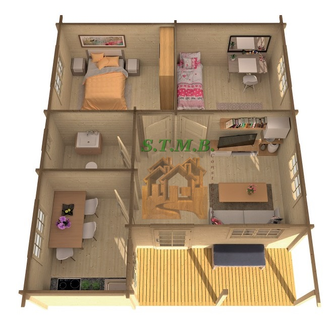 chalet bois 2 chambres stmb construction chalets. Black Bedroom Furniture Sets. Home Design Ideas