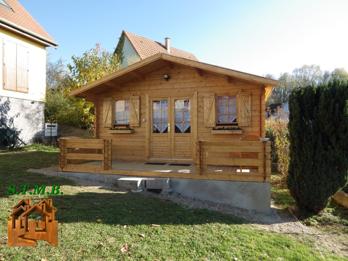 Kit chalet de jardin bois pavier 20 m en madriers de 34 mm for Jardines de chalets