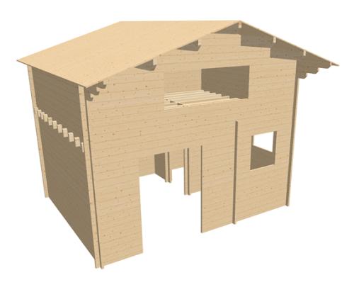 Chalet en bois mezzanine cournon 20msb stmb construction