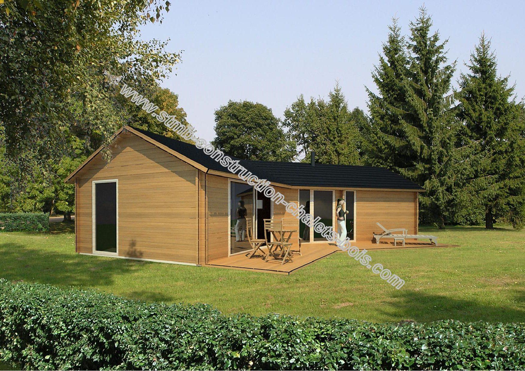chalet en bois mod le volvic 48 m avec terrasse de 18 m. Black Bedroom Furniture Sets. Home Design Ideas