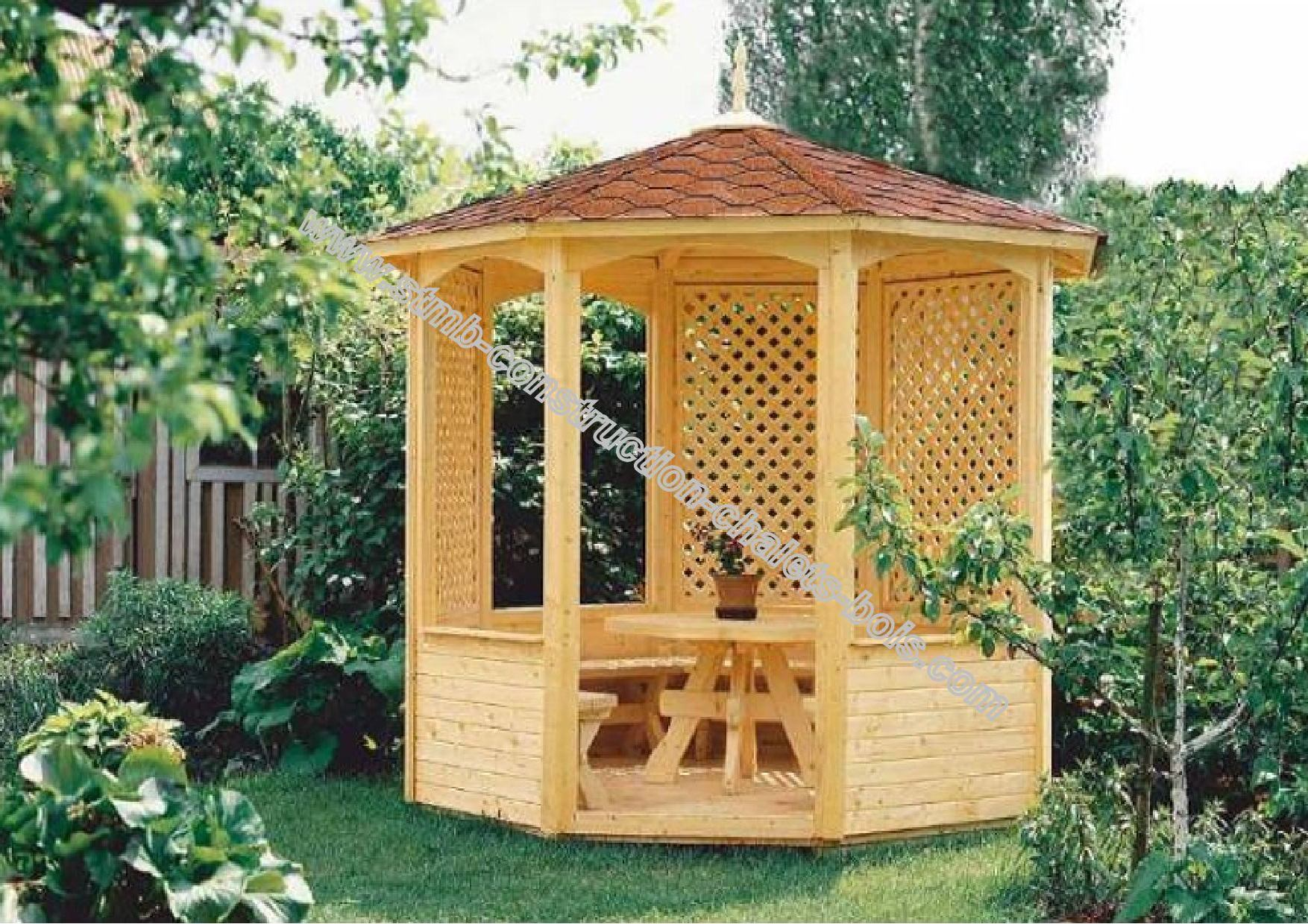 kiosques et gloriettes de jardin bois en kit. Black Bedroom Furniture Sets. Home Design Ideas