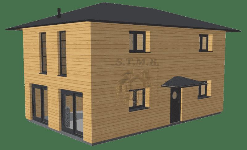 Maison en bois etage 120m2 stmb construction