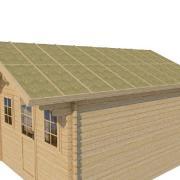 Mise en place isolant sur toit chalet bois