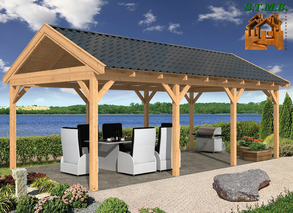 agencer une pergola en bois avec stmb construction. Black Bedroom Furniture Sets. Home Design Ideas