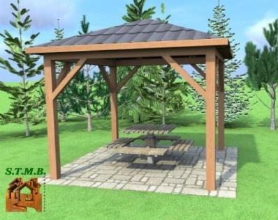 agencer une pergola en bois avec stmb construction. Black Bedroom Furniture Sets. Home Design Ideas