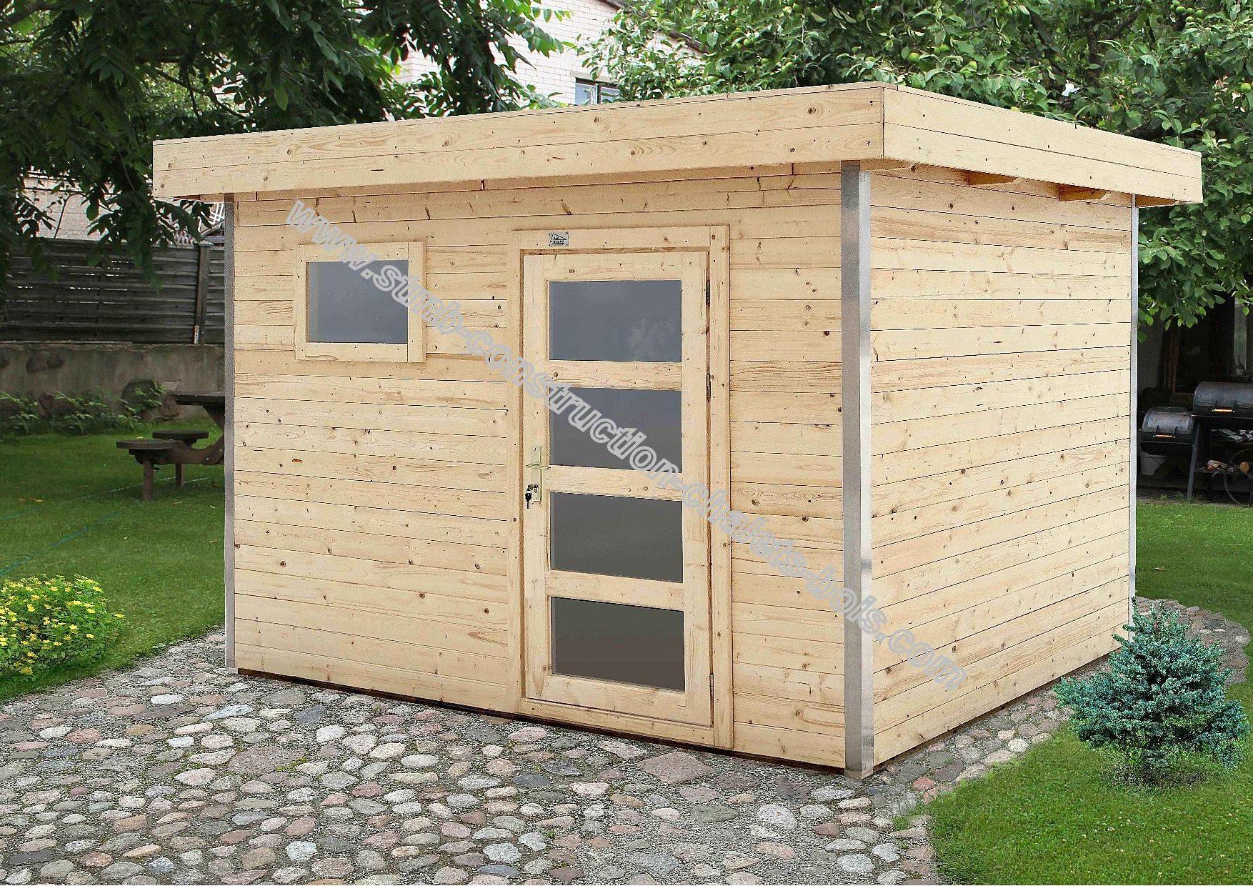Abri de jardin en bois avec angles 90 en aluminum for Abris de jardin sans dalle beton
