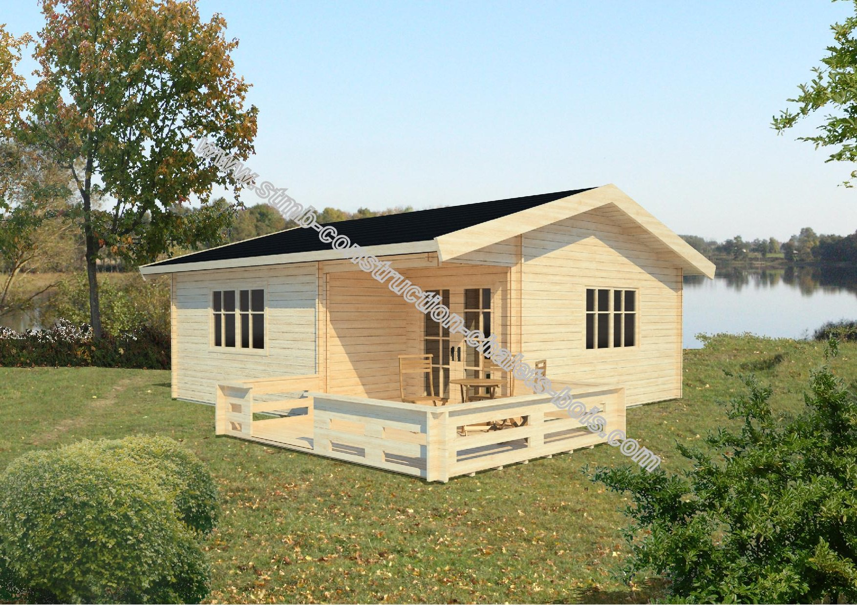 Chalet en bois habitable amiens 36 m2 stmb construction for Jardines de chalets